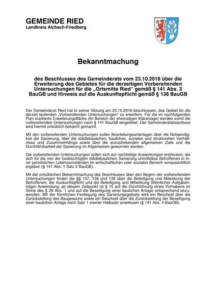 GemeindeRied-Bekanntmachung-OrtsmitteRied-Nachrichten&Info