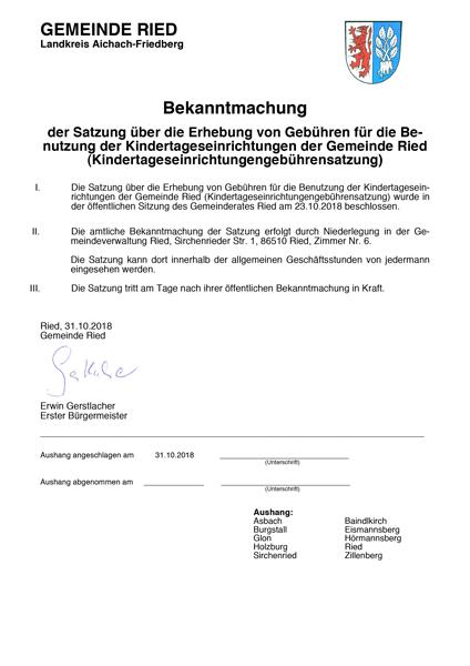 GemeindeRied-Bekanntmachung-Kindergartengebühren-Nachrichten&Info