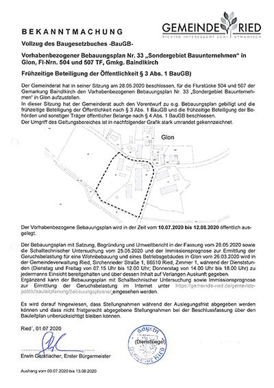 Bebauungsplan-Nr33 Sindergebiet - Bauunternehmen Glon