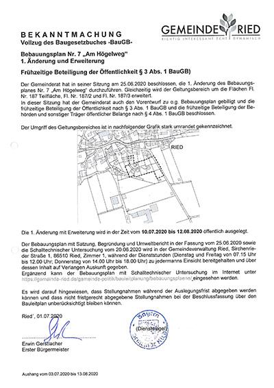 """1. Änderung des Bebauungsplanes Nr. 7 """"Am Högelweg"""" in Ried"""