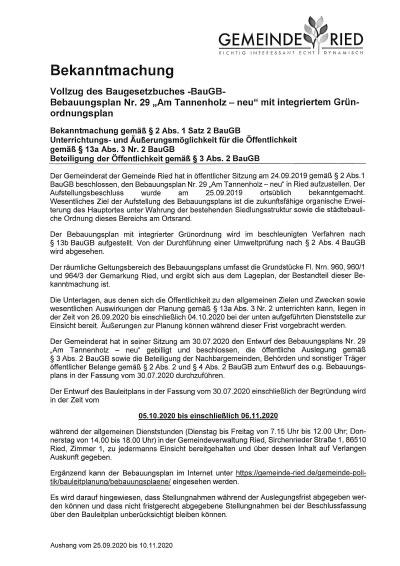 """Bebauungsplan Nr. 29 – """"Am Tannenholz – neu"""" mit integriertem Grünordnungsplan"""