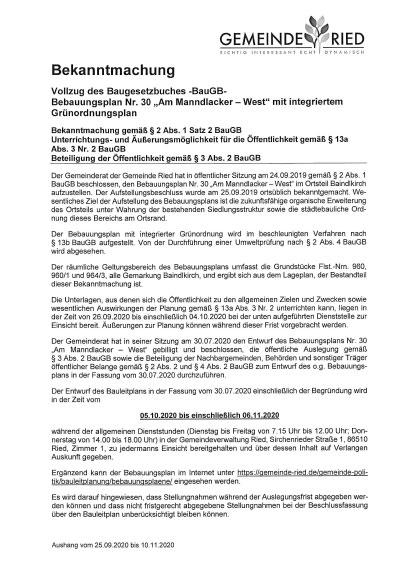 """Bebauungsplan Nr. 30 – """"Am Manndlacker – West"""" mit integriertem Grünordnungsplan"""