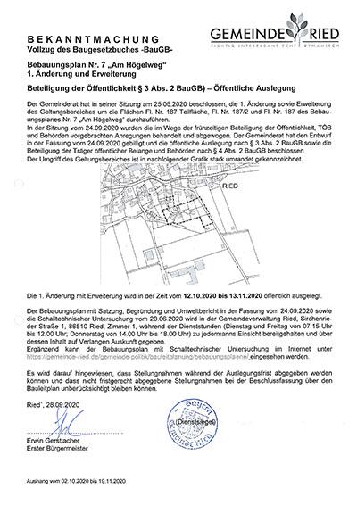 """1.Änderung und Erweiterung des Bebauungsplanes Nr. 7 """"Am Högelweg"""""""