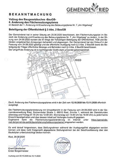 """6. Änderung des Flächennutzungsplanes Für den Bereich der Änderung des Bebauungsplanes Nr. 7 """"Am Högelweg"""""""