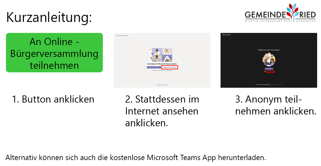 Anleitung Online-Bürgerversammlung Gemeinde Ried